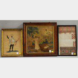 Three Framed 19th Century Textile Items