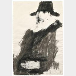 Leonard Baskin (American, 1922-2000)      Two Portrait Drawings of Dutch Artists: Man with Hat