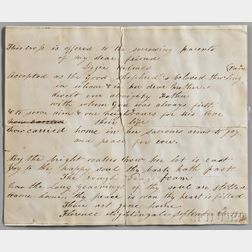 Nightingale, Florence (1820-1910) Signed Note of Sympathy, 26 September 1889.