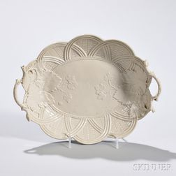 White Salt-glazed Stoneware Bread Basket