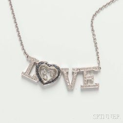 """18kt White Gold and Diamond """"Love"""" Necklace"""