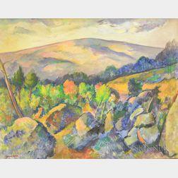 Edwin Booth Grossman (American, 1887-1957)      Early Autumn Landscape