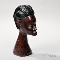 Carved Hardwood Head of a Woman