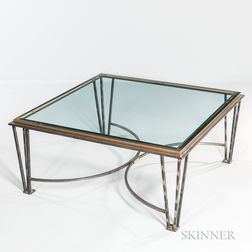 Roche Bobois Glass and Metal Cocktail Table