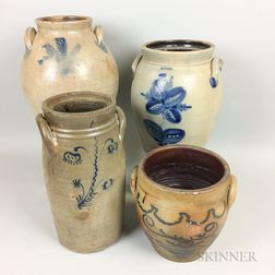 Four Cobalt-decorated Stoneware Vessels