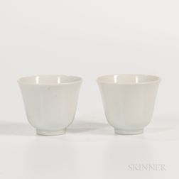 Pair of White Porcelain Wine Cups
