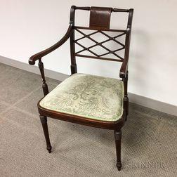 Regency-style Mahogany Open Armchair