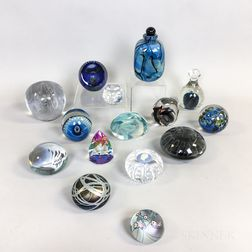 Fifteen Art Glass Paperweights and Bottles