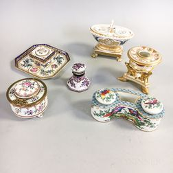 Four Samson Porcelain Inkwells and Two Other Continental Inkwells.     Estimate $100-200