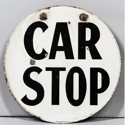 "Two-sided Enamel ""Car Stop"" Sign"