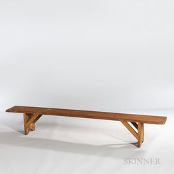 Shaker Yellow-painted Meeting House Bench