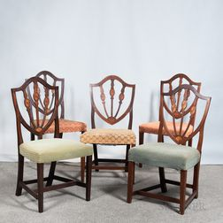 Assembled Set of Five Federal Shield-back Side Chairs