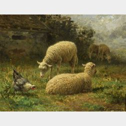 Jean Ferdinand Chaigneau (French, 1830-1906)    Sheep in Landscape