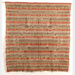 Woven Wool and Cotton Memorial Hall Biederwand Coverlet