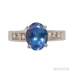Platinum, Tanzanite, and Diamond Ring