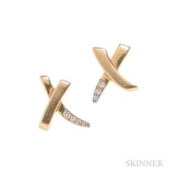 """18kt Gold and Diamond """"X"""" Earrings, Paloma Picasso, Tiffany & Co."""