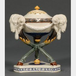 Wedgwood Argenta Majolica Tripod Incense Burner and Cover