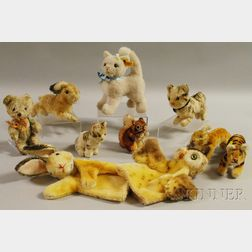 Ten Steiff Mohair Animal Toys and Puppets