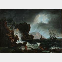 American/Anglo School, 19th Century      Rescue Scene with Ship in Distress in Rough Coastal Waters with Distant Lighthous   e
