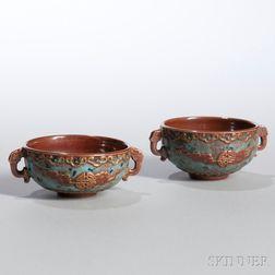 Near Pair of Batavia Brown-glazed Fahua   Cups