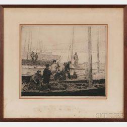 Six Prints by 20th Century American Artists:      George Elmer Browne (1871-1946), Sardine Fleet at Anchor