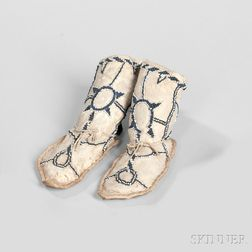 Apache Child's Beaded Hide High-top Moccasins