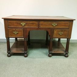 Neoclassical-style Inlaid Fruitwood Partners' Desk
