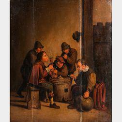 Dutch School, 17th Century Style      Men Smoking and Drinking Around a Half-barrel Table
