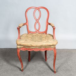 Rococo-style Red-painted Armchair