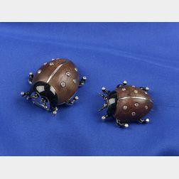 Two Enamel and Gem-set Ladybug Clips