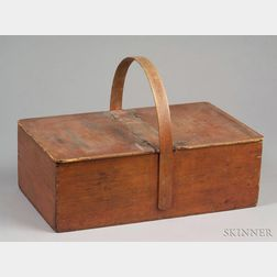 Red-stained Shaker Pine and Ash Picnic Basket