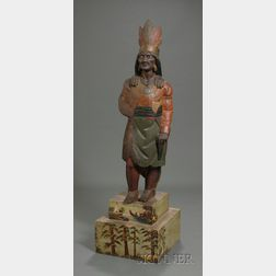 Polychrome Painted Carved Wooden Indian Tobacconist Figure