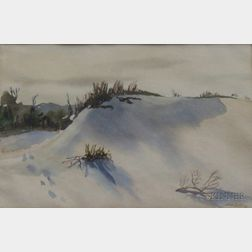 20th Century American School Watercolor on Paper Winter of a Dunes Landscape