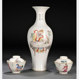 Pair of Porcelain Cups and a Vase