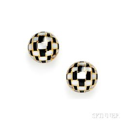 18kt Gold, Black Jade, and Mother-of-pearl Earclips, Tiffany & Co.