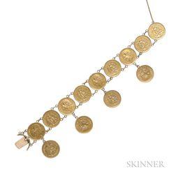 Bracelet of Mexican Gold Pesos