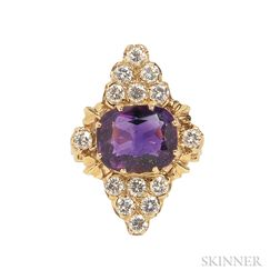 14kt Gold, Amethyst, and Diamond Ring
