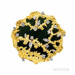 18kt Gold, Jade, and Diamond Pendant/Brooch