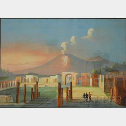 Continental School, 19th Century      Lot of Two Views of Pompeii: Forum di Pompei