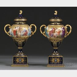 Pair of Royal Vienna Porcelain Vases with Covers