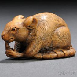Ivory Netsuke of a Rodent
