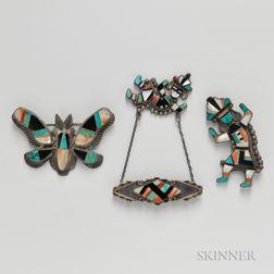 Three Zuni Inlay Pins