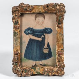 American School, Mid-19th Century      Miniature Portrait of a Girl in a Blue Dress