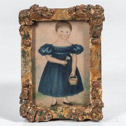 American School, Mid-19th Century      Miniature Portrait of a Girl in a Blue Dress