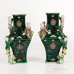 "Pair of Famille Noir ""Five Boys"" Vases"