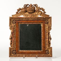 Gilt Carved Pine and Walnut-veneered Mirror