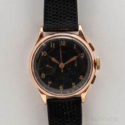 "Black Dial ""Chronograph Suisse"" 18kt Gold Wristwatch"