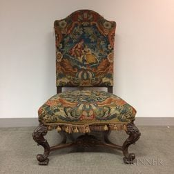 Renaissance-style Carved and Needlepoint-upholstered Walnut Side Chair
