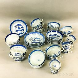 Nineteen Canton Porcelain Teacups and Saucers.     Estimate $100-150