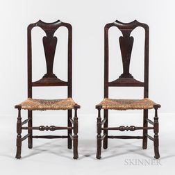 Pair of Queen Anne Rush-seat Chairs